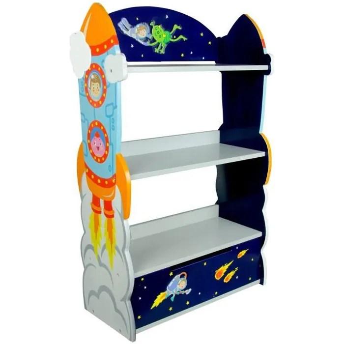 meuble bibliotheque en bois enfant garcon avec 1 tiroir de rangement livre jouet fantasy fields td 12220a