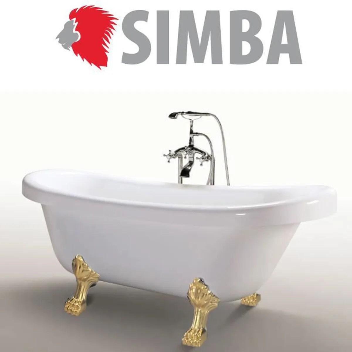baignoire sur pieds en acrylique avec robinetterie