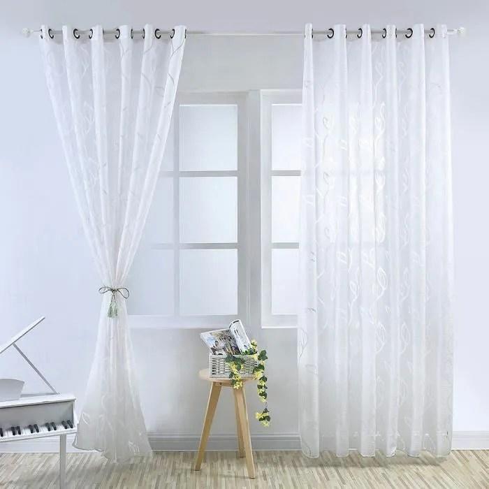 rideaux voilage transparent blanc