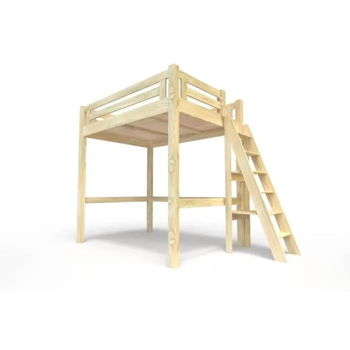 lit mezzanine alpage bois echelle hauteur reglable couleur brut dimensions 160x200