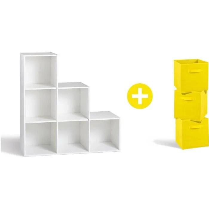 compo meuble en escalier contemporain 6 cases 3 tiroirs de rangement tissu jaune l 93 et l 27 cm