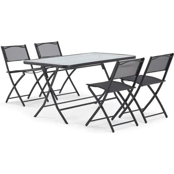 table de jardin 4 chaises en acier