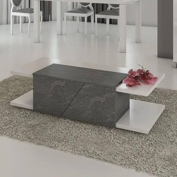 table basse design 120x60 cm gris et blanc laque blanc laurea gris