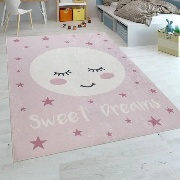 tapis enfant chambre enfant filles lavable etoiles