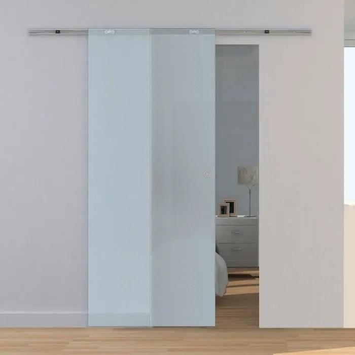porte interieure coulissante en verre 88 x 208 cm