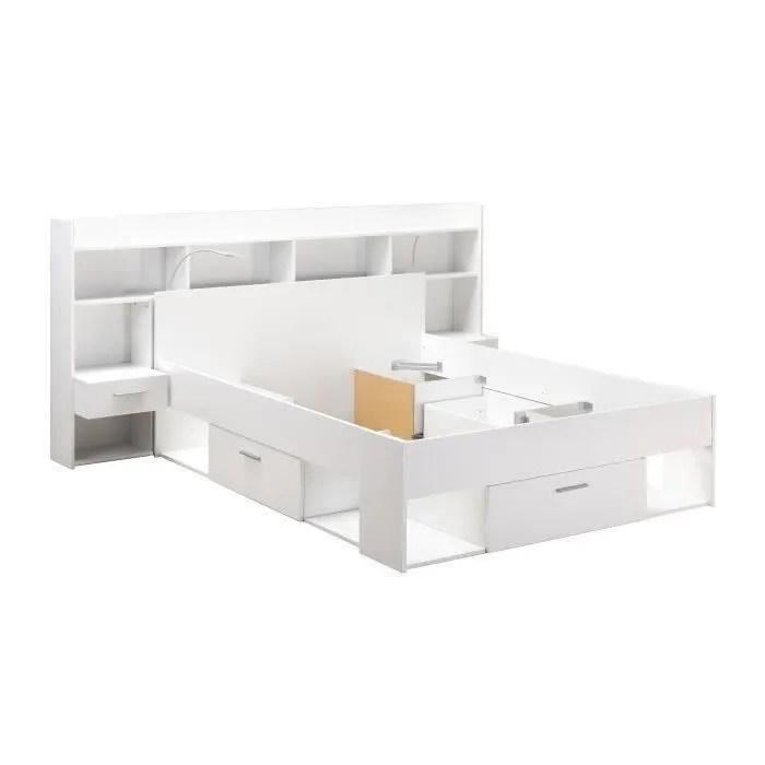 chicago ensemble lit adulte 140x190 200 cm rangement avec liseuse leds decor blanc mat