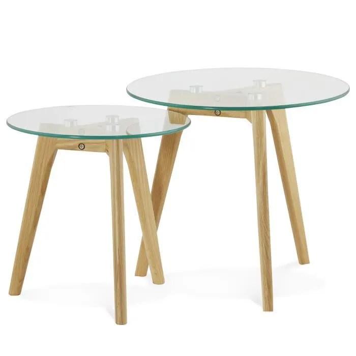 set de 2 tables basses scandinave ronde en verre