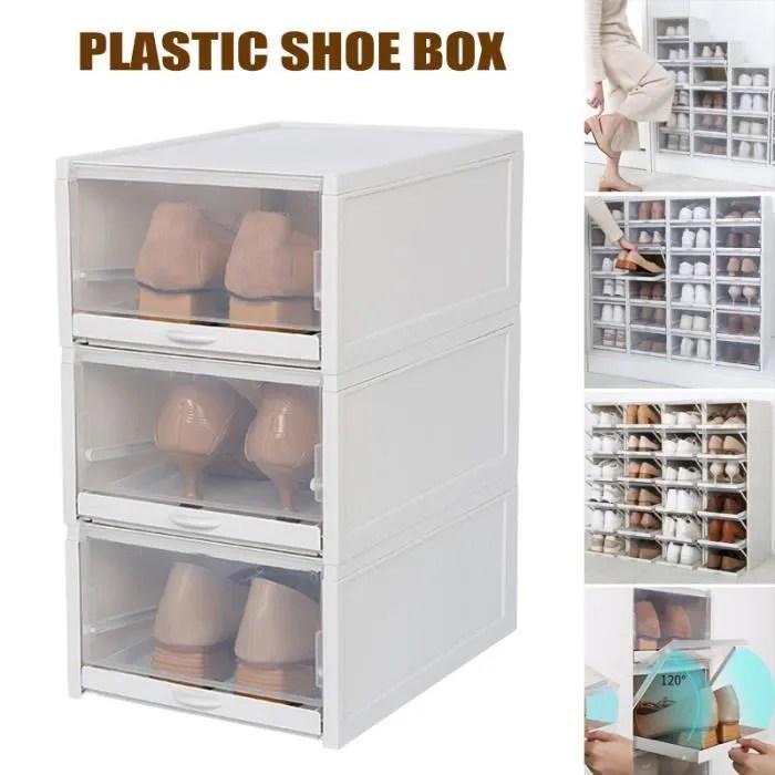3 pcs boite a chaussure tiroir de rangement empilable transparent systeme de rangement gris