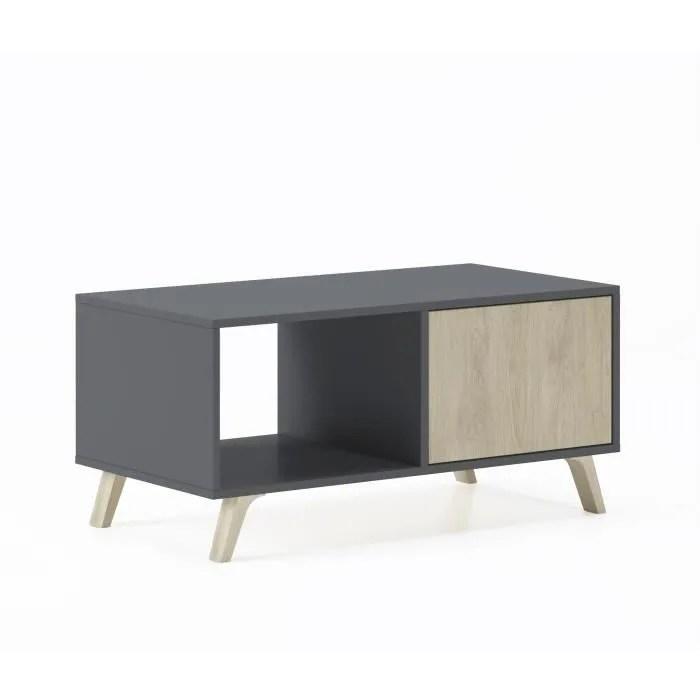 table basse avec portes salle a manger modele wind structure gris anthracite portes couleur puccini mesure 92x50x45cm de haut