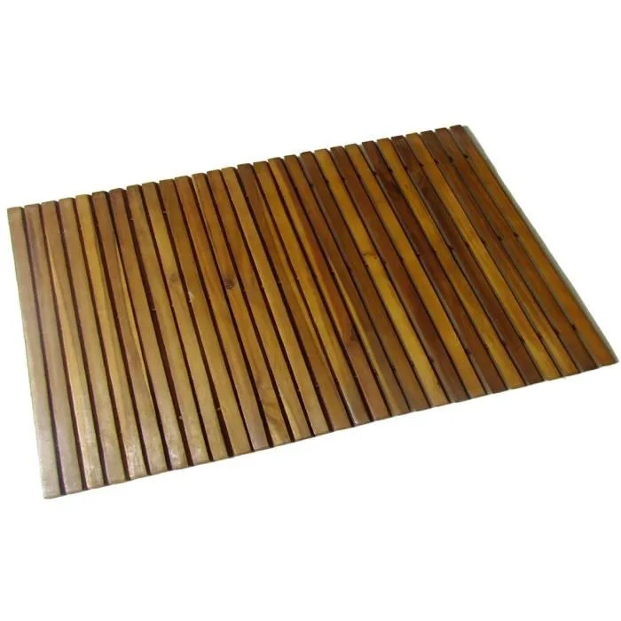 tapis de bain en bois d acacia antiderapant pour l