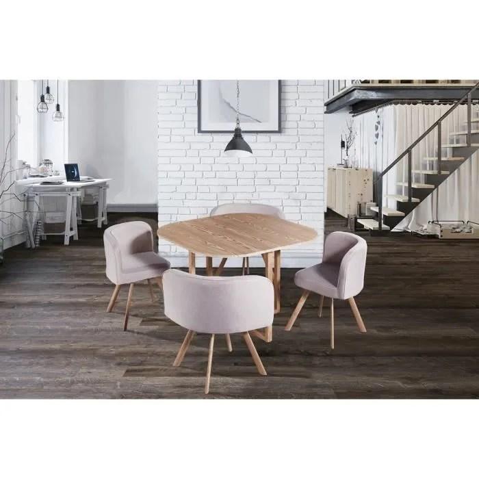 ensemble table 4 chaises encastrable beige flen