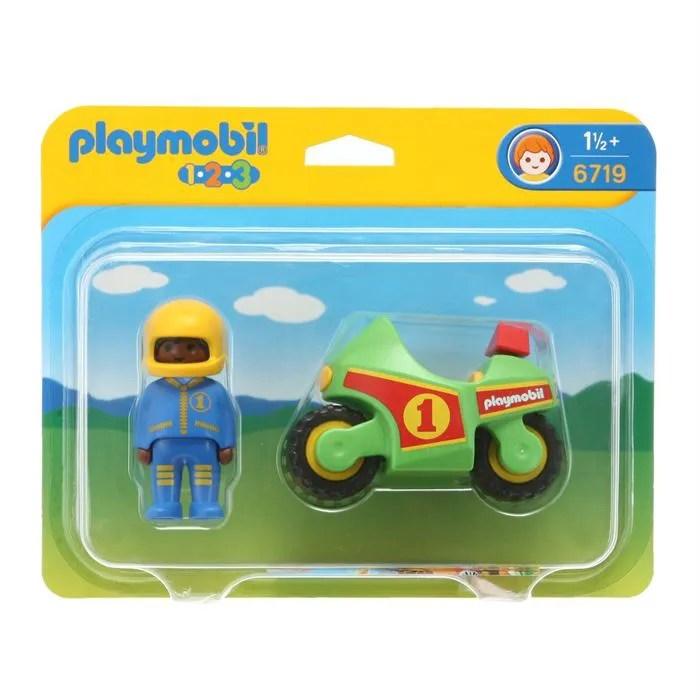 playmobil 1 2 3 6719 pilote moto de course
