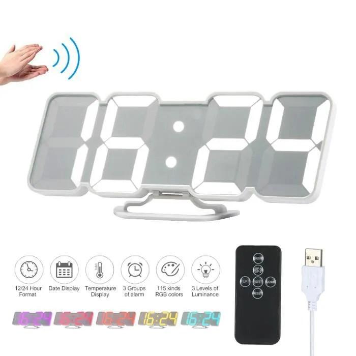 Decdeal Horloge Murale Led 3d Reveil Numerique Electronique Usb Sans Fil Rvb Reveil A Affichage Horloge De Bureau De L Heure White Achat Vente Horloge Pendule Cdiscount