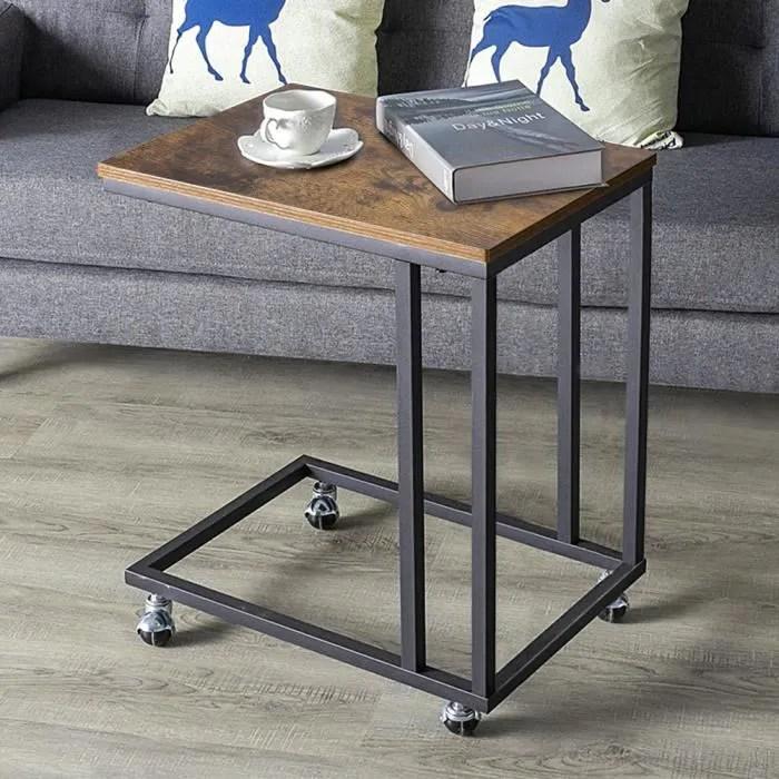 table d appoint industriel bout de canape a roulettes table de chevet avec cadre en metal 50 x 35 x 60 cm