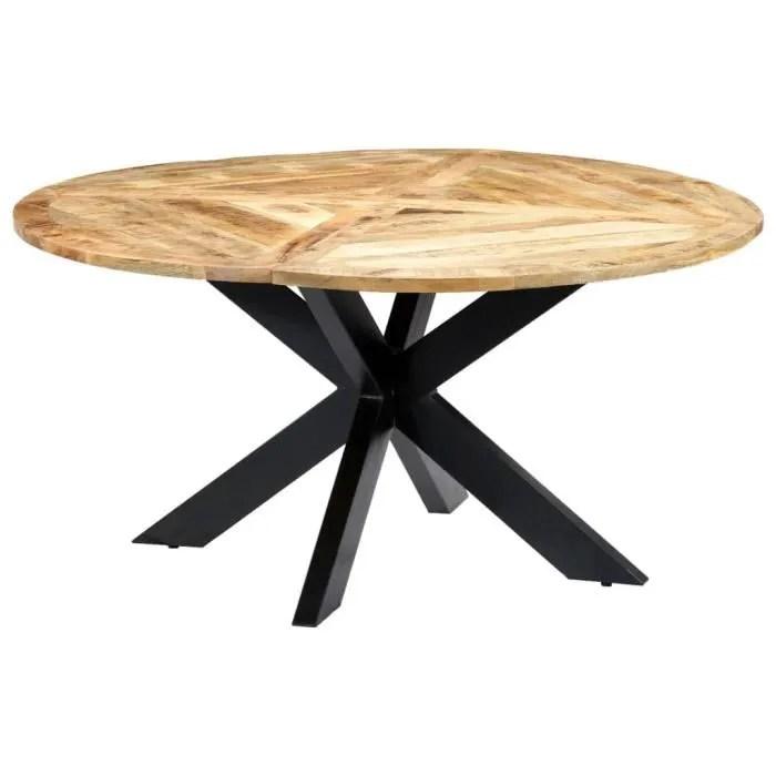 table a manger rond 6 a 8 personnes style industriel 150 x 76 cm bois de manguier massif