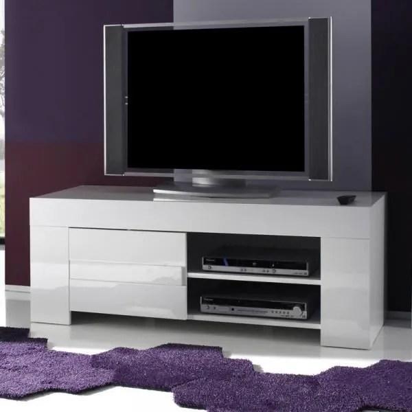 meuble tv 1 porte laque blanc brillant