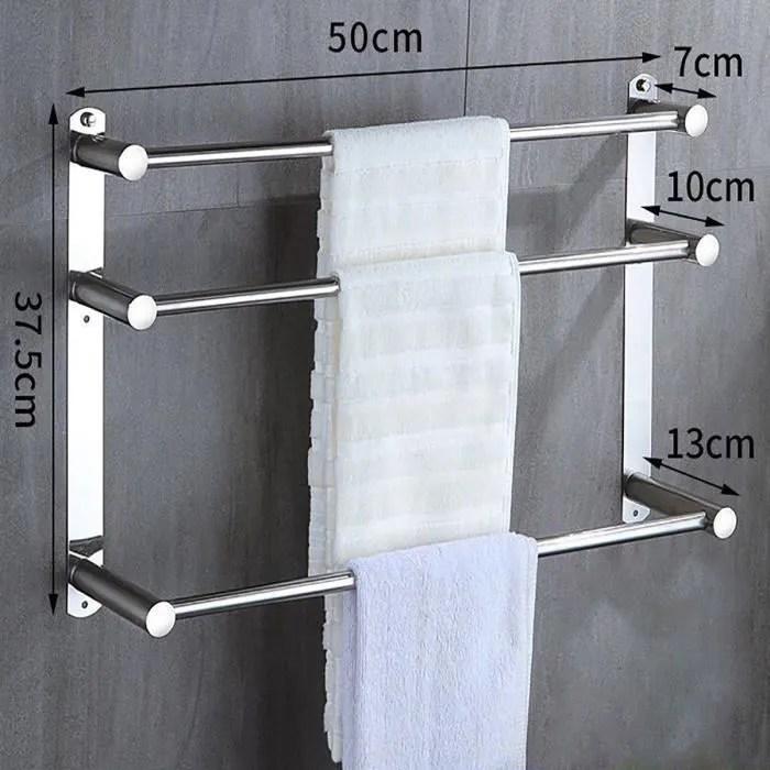 porte serviettes a 3 barres 50cm en acier inoxydab