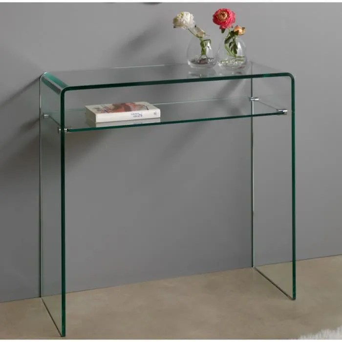 console meuble transparente