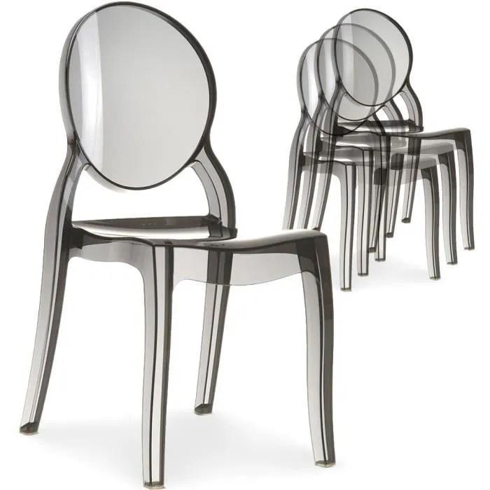 lot de 4 chaises medaillon diva plexi transparent fume