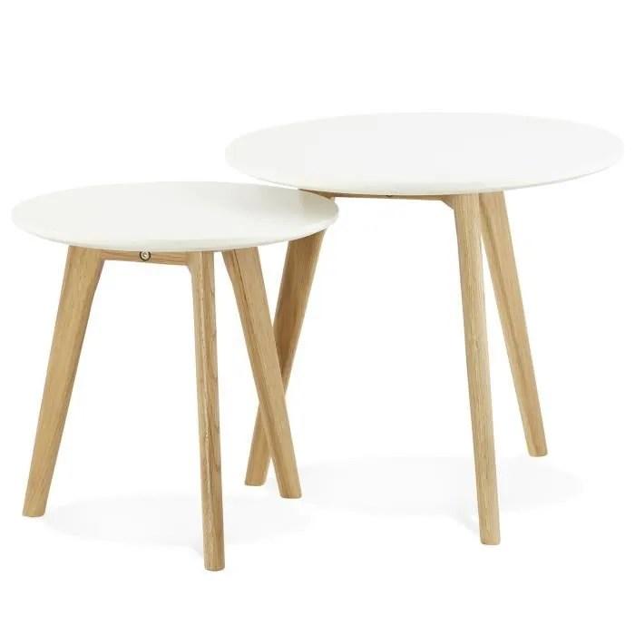 set de 2 tables basses scandinave ronde blanche