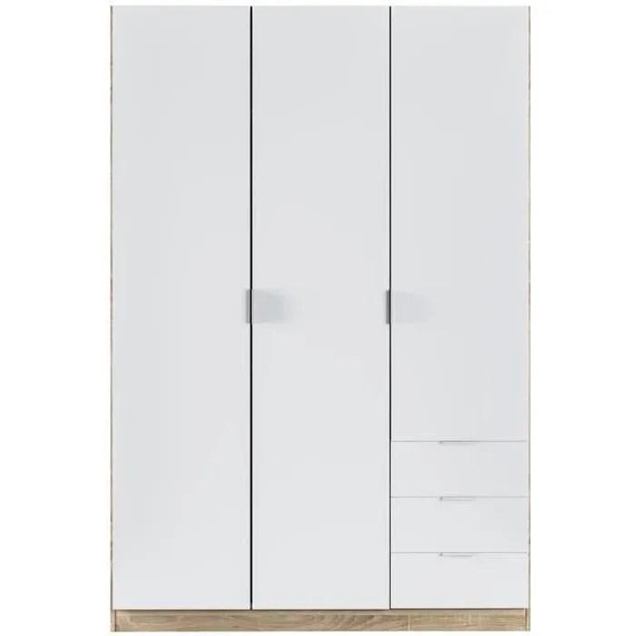 armoire avec 3 portes et 3 tiroirs coloris chene et blanc dim l 121 x h 180 x p 52 cm