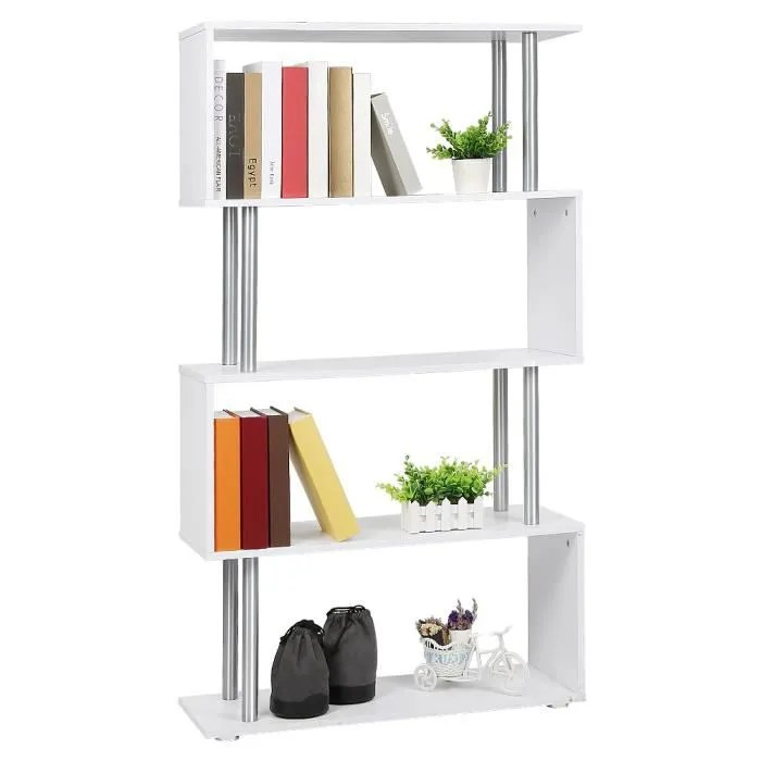 mixmest bibliotheque d angle blanc pour bureau