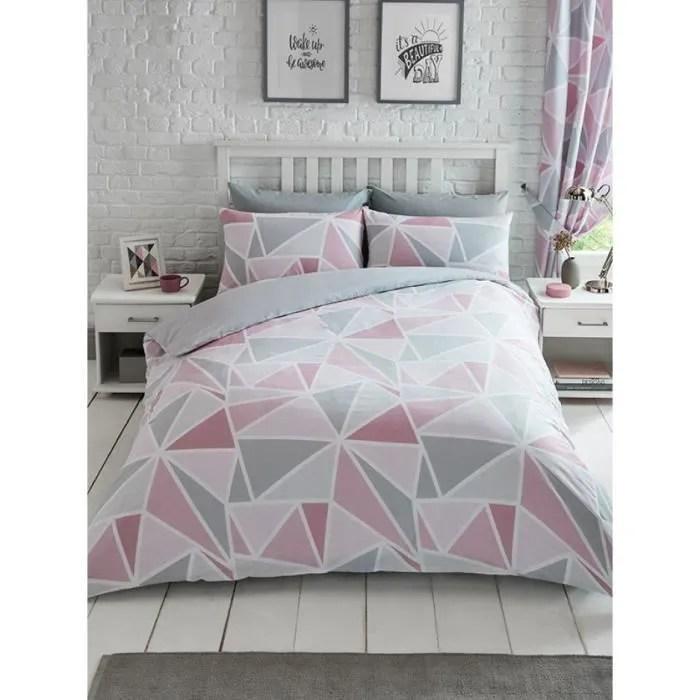ensemble de courtepointe double triangle geometrique rose gris rideaux assortis entierement double 66x72 avec liens dorsaux