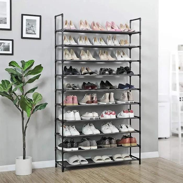 miss etageres meuble chaussures rangement 10 niveaux pas cher structure stable en metaux 100 30 176cm