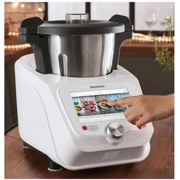 silvercrest monsieur cuisine connect skmc 1200 b2 1200w robot de cuisine blanc