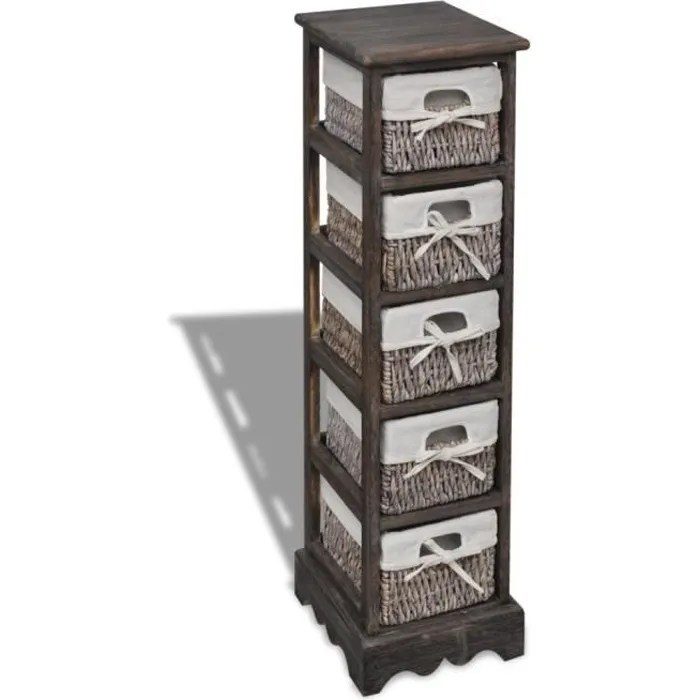 chiffonnier en bois colonial brun armoire et meuble de rangement avec 5 paniers 25 x 28 x 90 cm