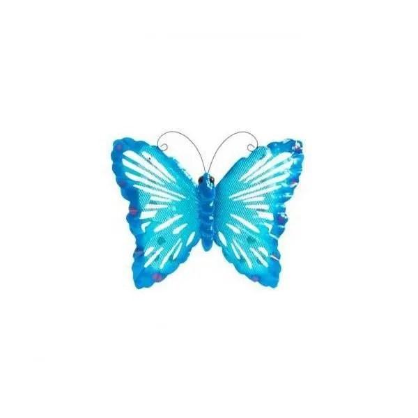 decoration murale metal papillon bleu 31 x 26 cm