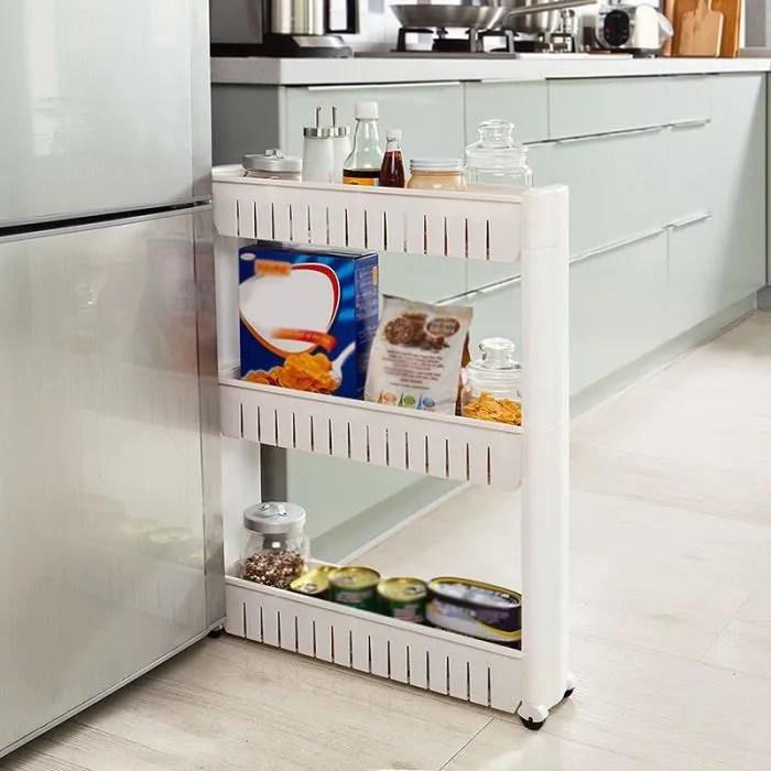 etagere de cuisine de rangement 3 etages avec roulettes blanc