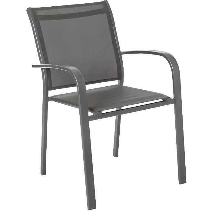 chaise de jardin empilable alu essentia anthracite graphite hesperide