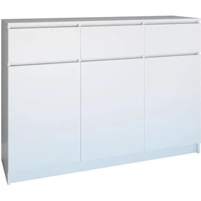 parme commode contemporaine 3 portes 3 triroirs chambre salon bureau buffet scandinave meuble de rangement en melamine