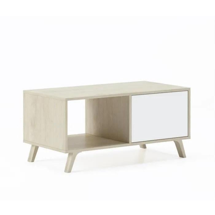 table basse avec portes salle a manger modele wind structure couleur puccini couleur portes blanches mesure 92x50x45cm de haut