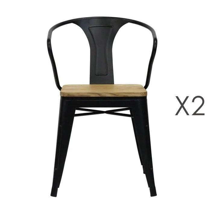 lot de 2 chaises avec accoudoirs assise bois et metal noir arty