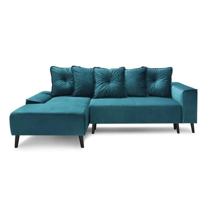 bobochic canape d angle gauche convertible meridienne tissu bleu navy l 260 x p 160 x h 95 cm hera
