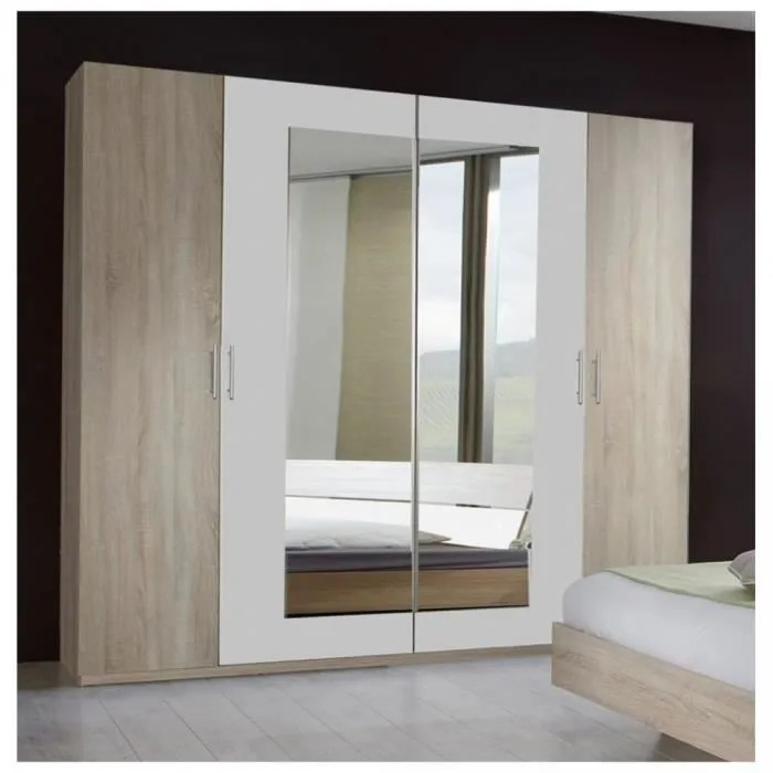 armoire 1 2 penderie 1 2 lingere 4 portes 2 miroirs eva largeur 225 finition chene clair blanc natural chene inside75