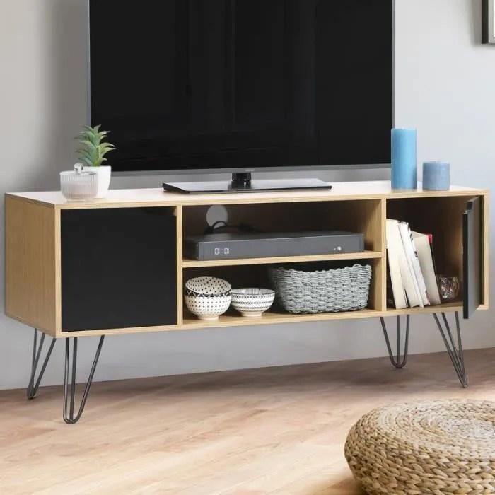 meuble tv vintage noemi pied epingle bois portes n