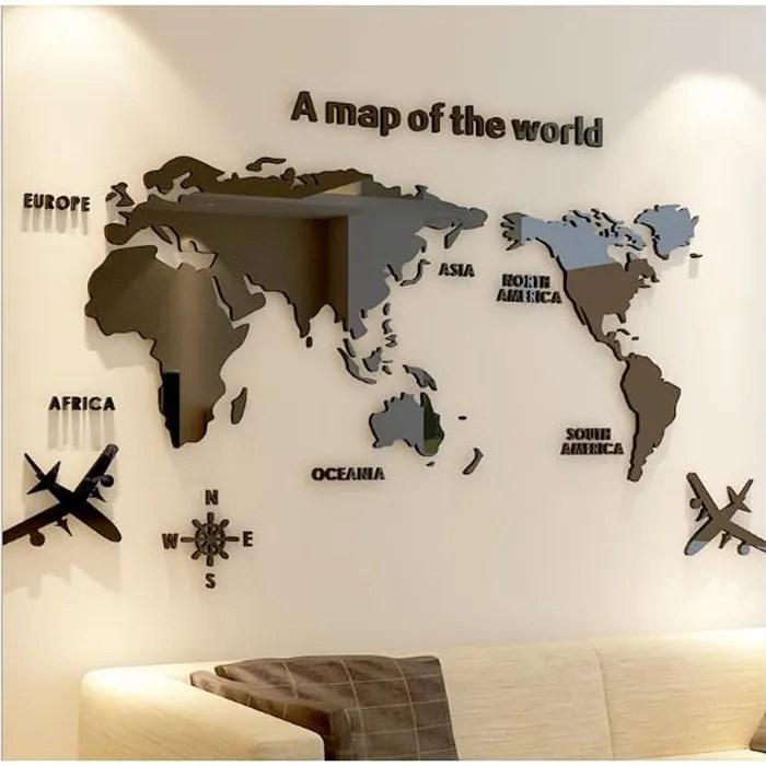 diy 3d carte du monde sticker mural acrylique decoration murale pour maison s noir