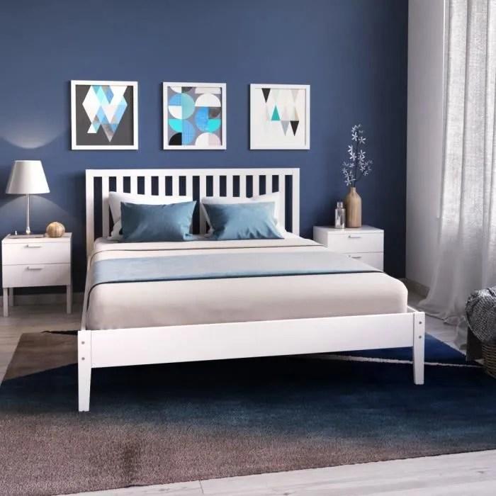 parker lit adulte contemporain en bois epicea massif blanc laque l 140 x l 190 cm
