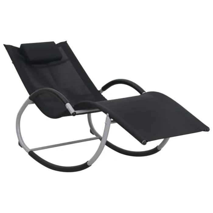 chaise longue transat de jardin fauteuil relax bains de soleil pour jardin balcon camping terrasse avec oreiller noir textilene