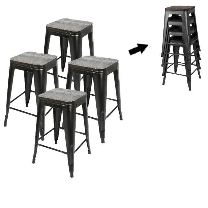 bul lot de 4 tabouret noir chaises haute noir en f