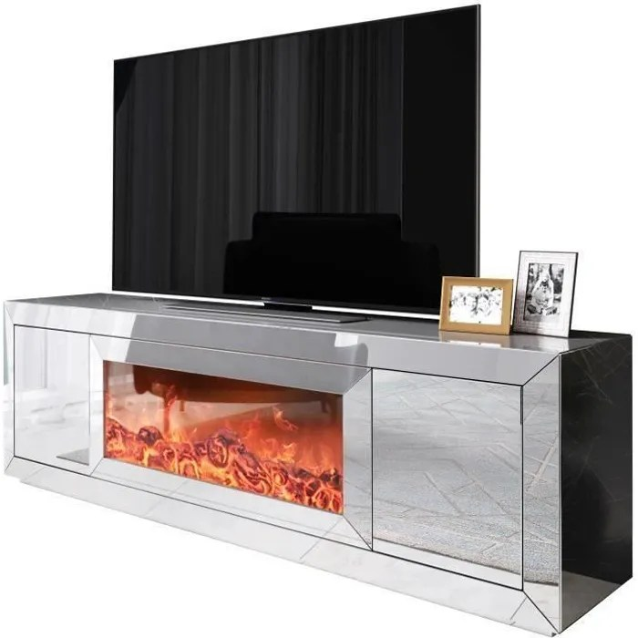 meuble tv design avec cheminee artificiel integre