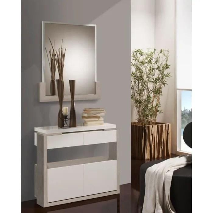 meuble d entree blanc chene clair miroir jungo l 90 x l 28 5 x h 75