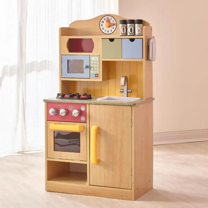 jeu de cuisine enfant en bois naturel pour fille et garcon teamson kids td 11708a