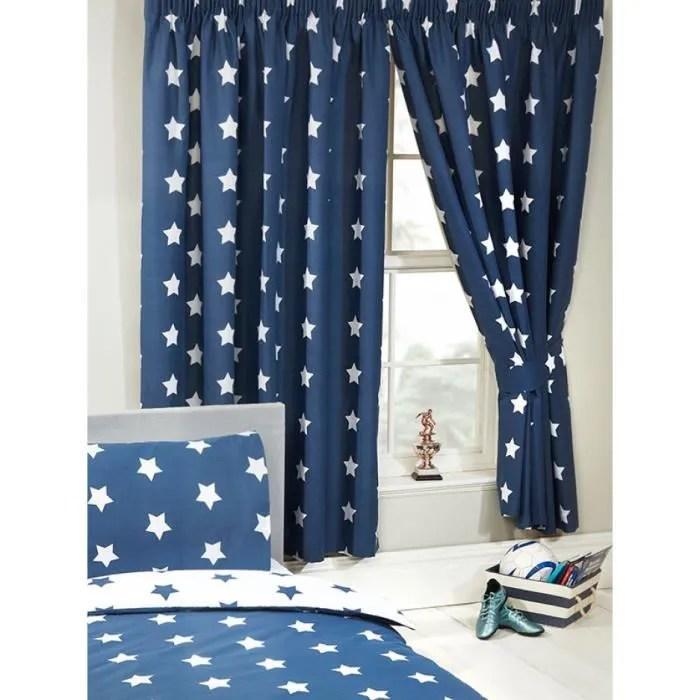 bleu marine et blanc etoiles rideaux doubles 72