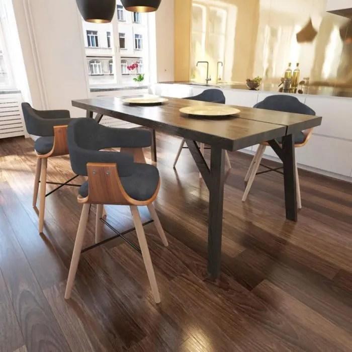 lot de 4 chaise de salle a manger bois et rembourrage en tissu