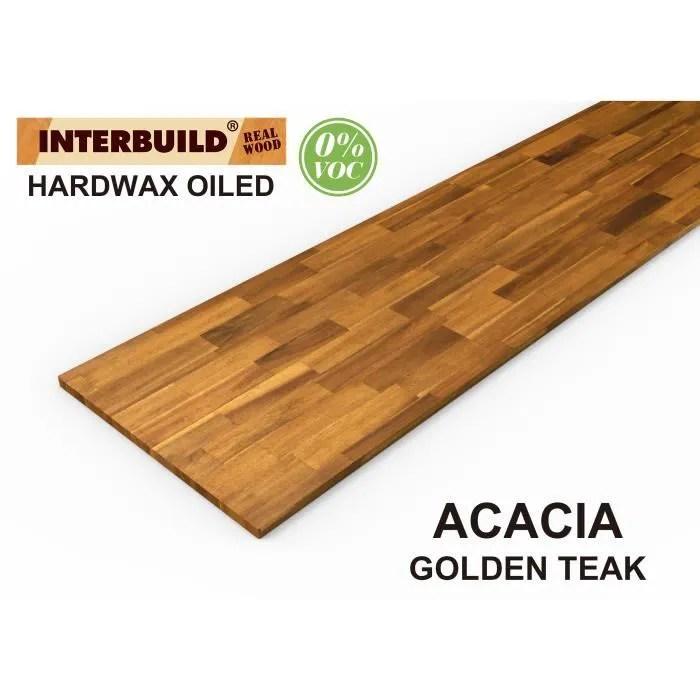 plans de travail en bois massif acacia interbuild 2200x635x26 mm teck dore 1 piece paquet
