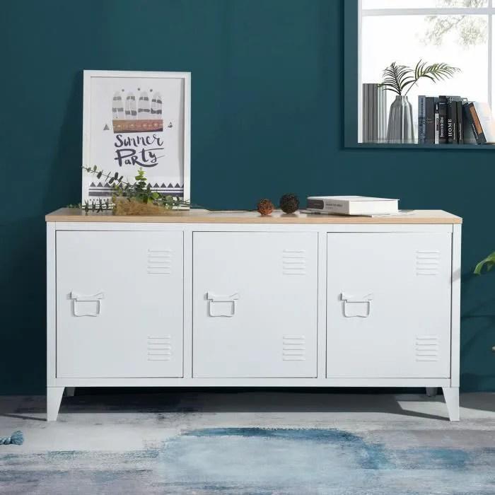 habi meuble de rangement en metal blanc plateau